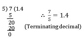 icse ix terminating desimals
