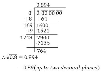 icse viii math square root of decimal number which is not perfect square