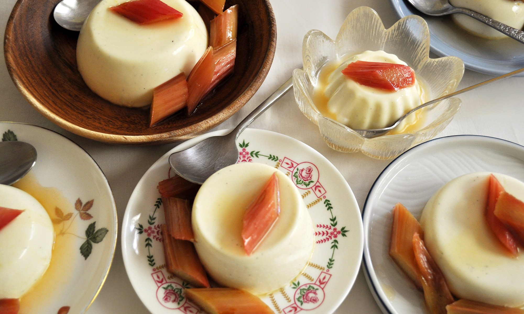 Panna Cotta Guide with recipe for panna cotta with roasted rhubarb