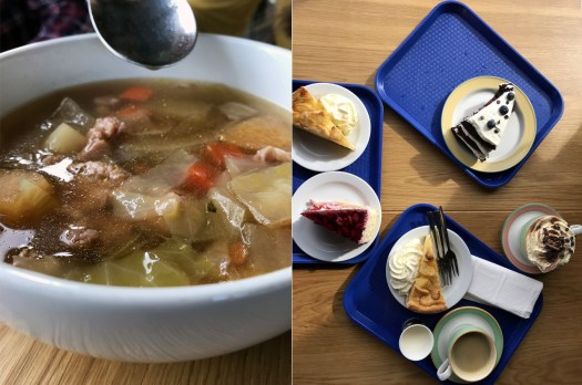 Pic of food we ordered at a cafe at Gullfoss Waterfall cafe. Icelandic lamb stew and cakes - Summer holiday in Iceland tips -