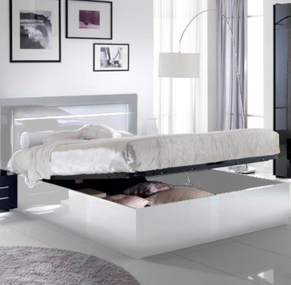 Lit avec coffre de rangement City laque blanc chambre  coucher
