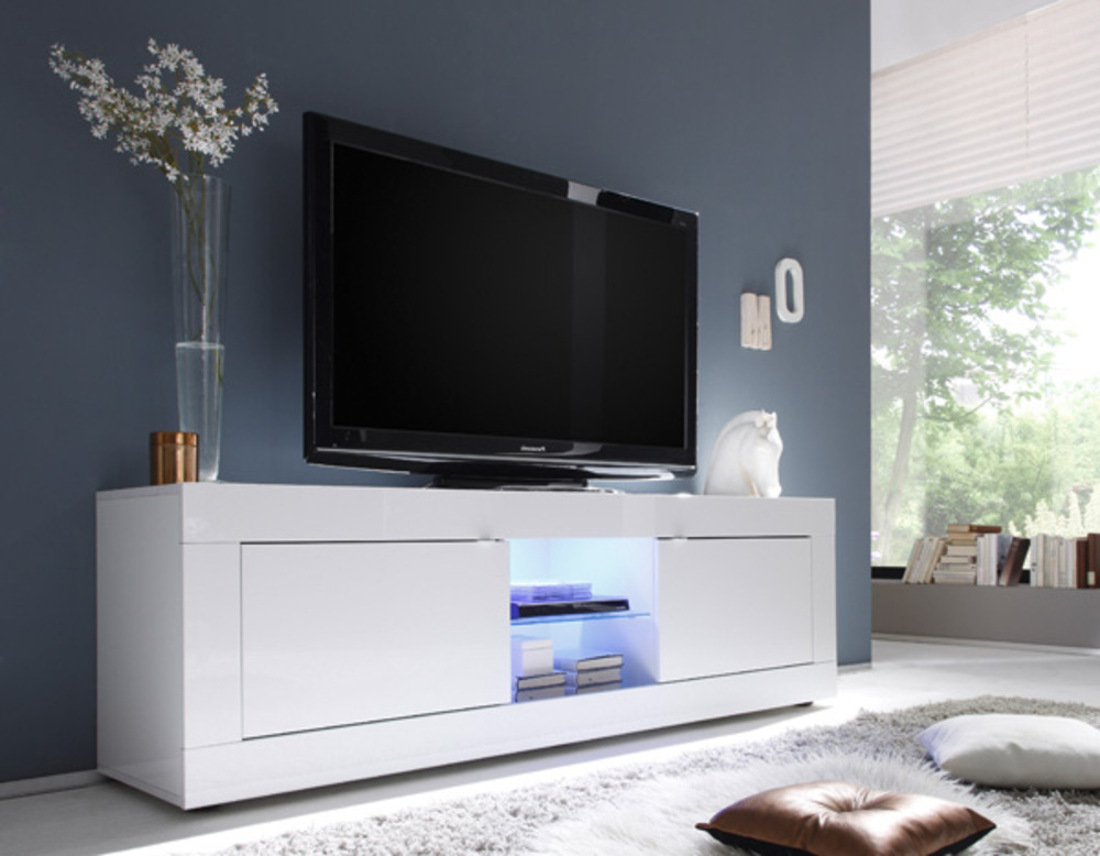 meuble tv gm costa blanc brillant