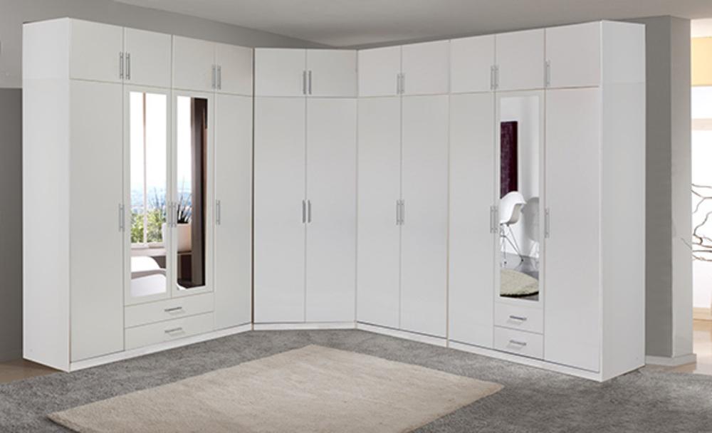 Armoire 3 Portes Dont 1 Miroir 2 Tiroirs Spectral Blanc