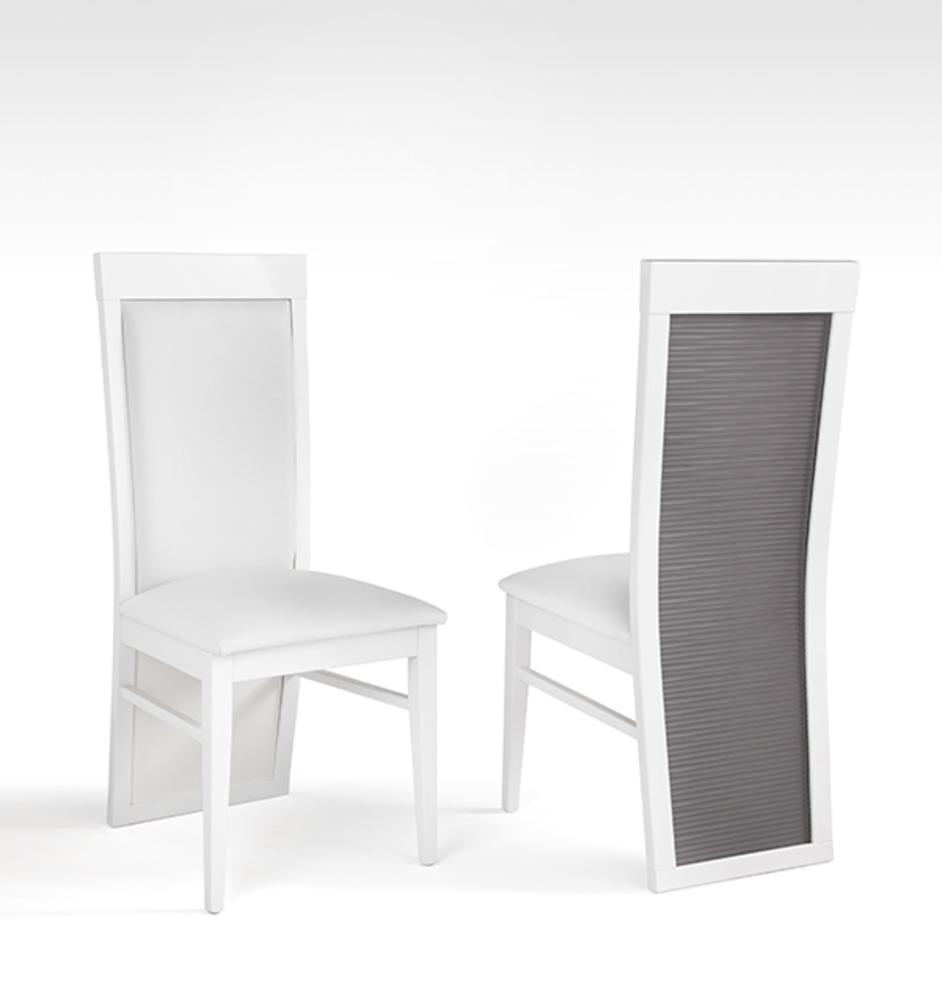 chaise venezia laquee blanc grise
