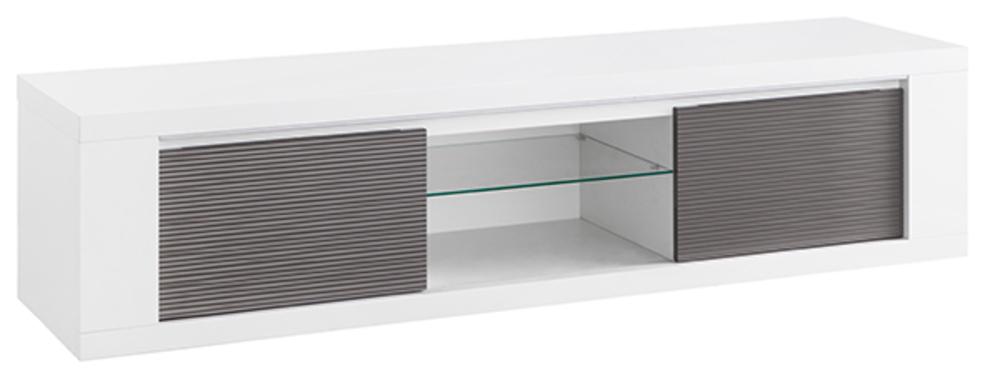 meuble tv plasma venezia laquee blanc grise