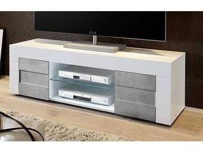 meuble tv cortina blanc brillant beton