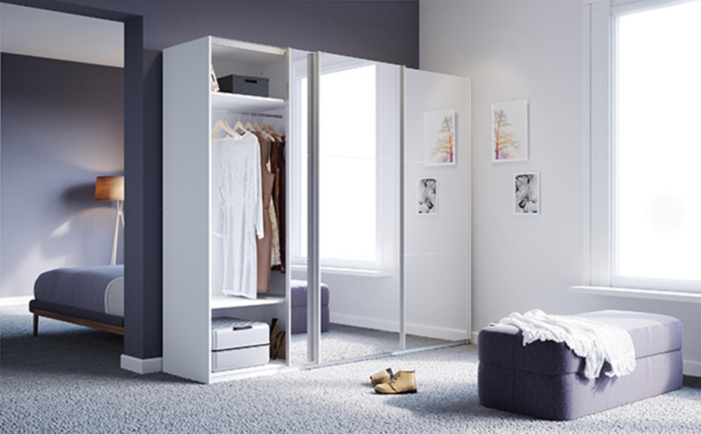 armoire 3 portes coulissantes miroir babylone