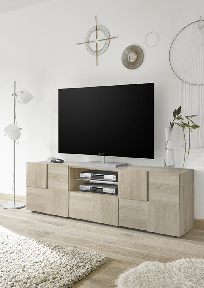 meuble tv damier bois