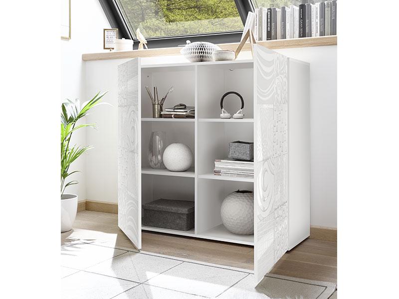 meuble de rangement miranda laque blanc serigraphie