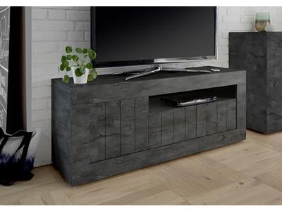 meuble tv 3 portes ferrara oxyde noir beton