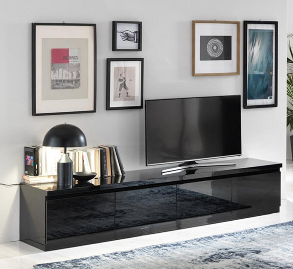 meuble tv 4 portes roma laque noir