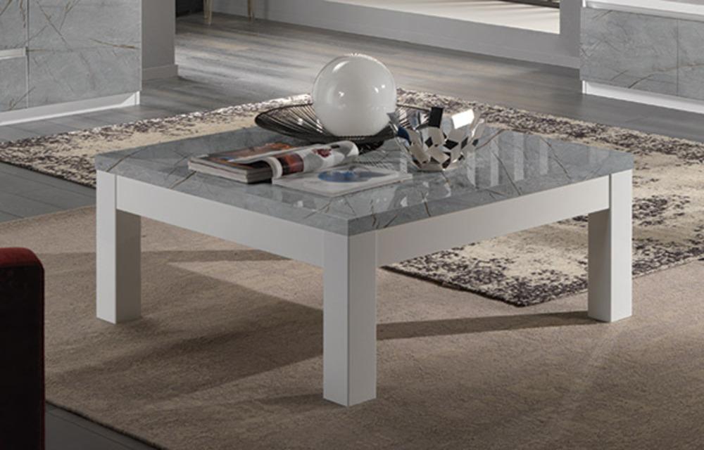 table basse roma laque blanc marbre gris