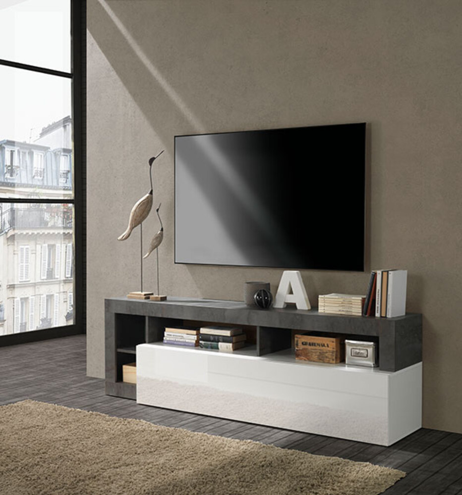 meuble tv fribourg laque blanc oxyde noir