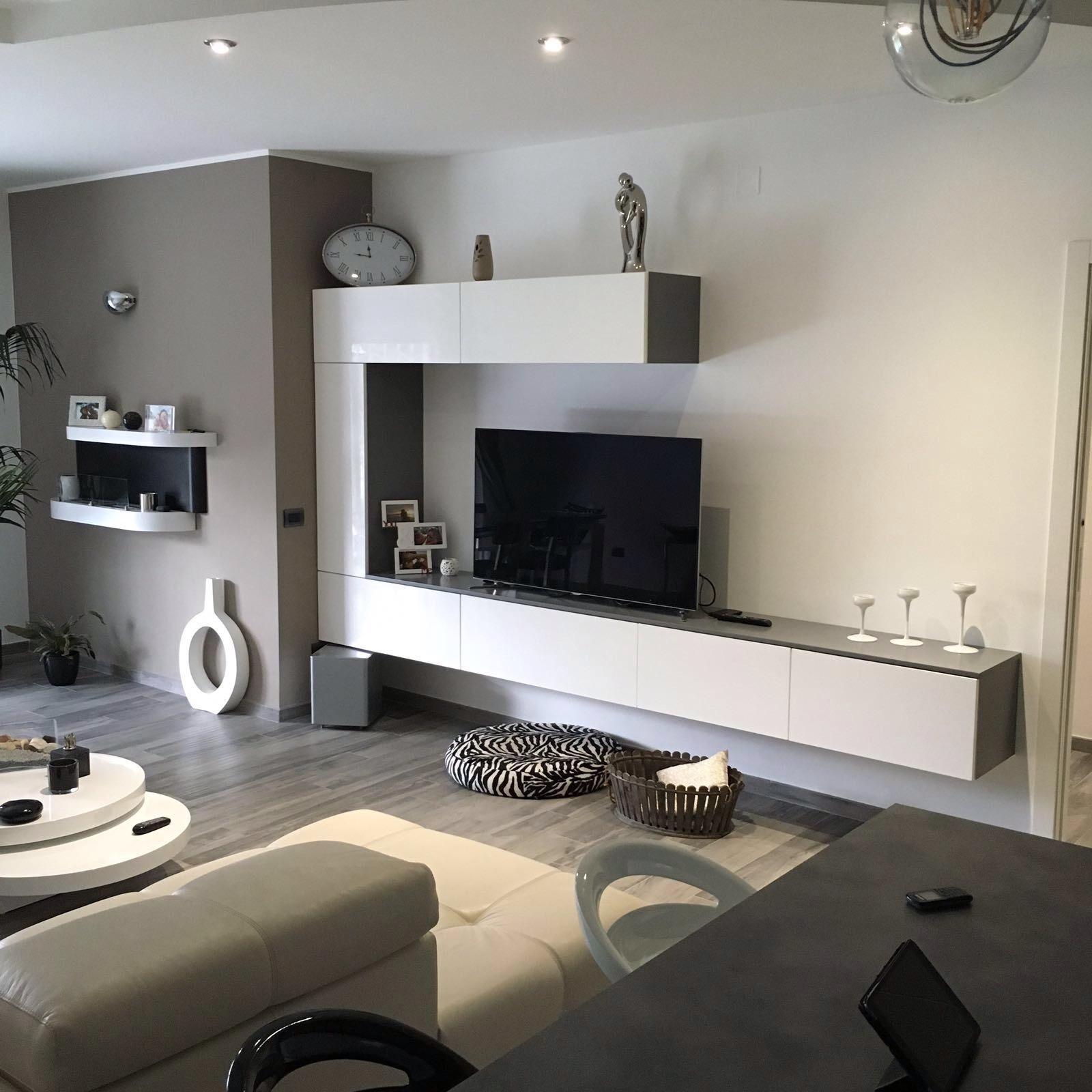Cucina e living minimal moderno bianco e antracite  Basile