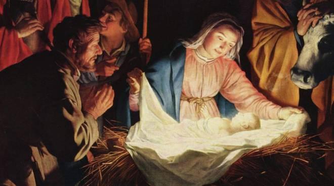 Storia di natale maria, giuseppe e il bambino gesù, figlio di dio, simbolo del cristianesimo disegnata a mano illustrazione vettoriale. I Diritti Di Gesu Bambino Basilicata24