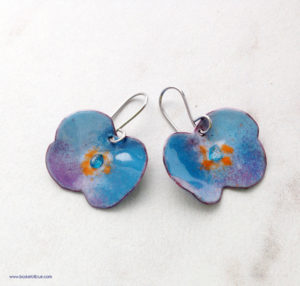 blue poppy flower earrings artisan enamel