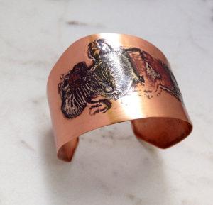 Silver and Copper Torch Fired Cuff Bracelet