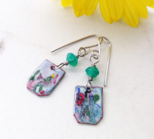 Painterly enamel earrings with bead dangle