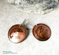 Copper Fish Earrings Hand Stamped Coin Earrings Ireland ...