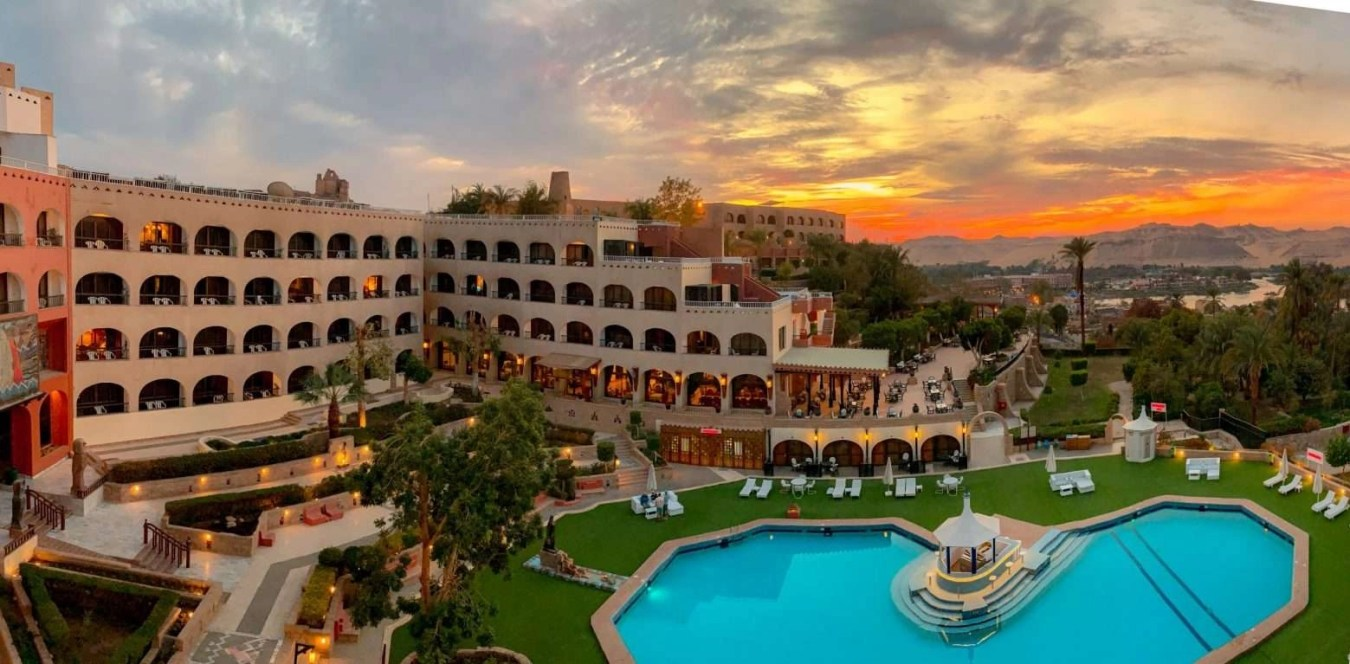 Basma Hotel Aswan view from balcony during sunset