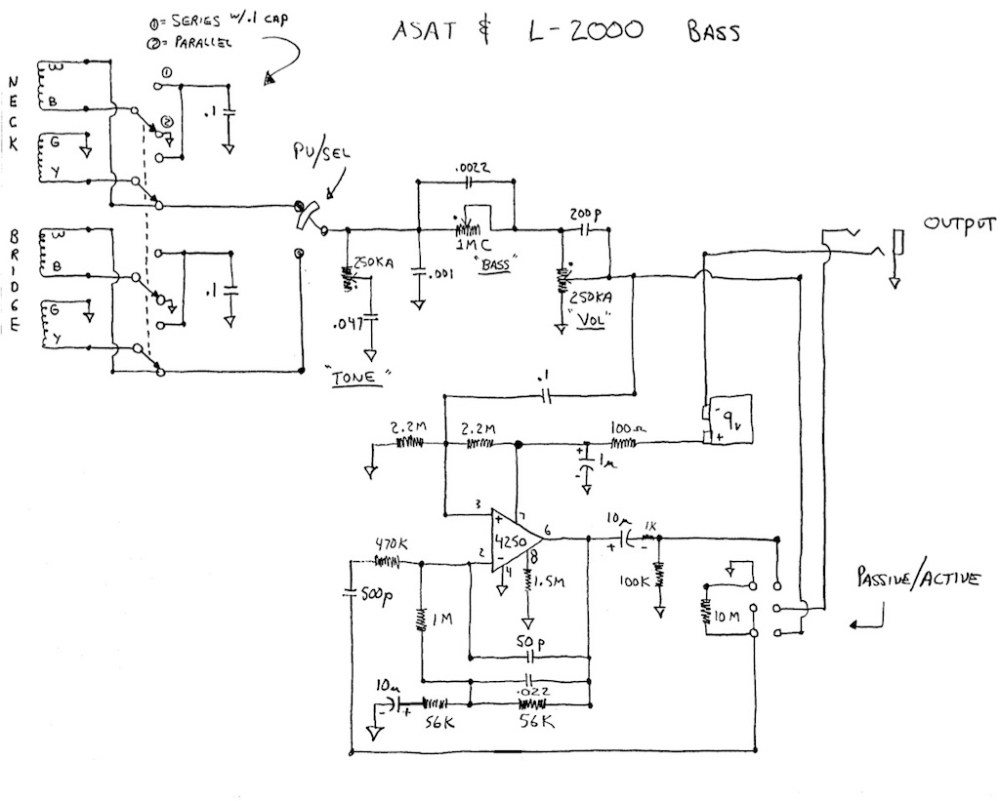 medium resolution of early l 2000 and asat schematic this is for those instruments that have the bass boost or omg setting