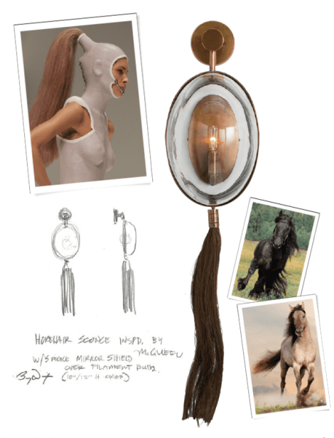 """Barry's personal favorite from the new collection, the Aramis Sconce is avant garde, commanding and totally unique. Barry was inspired by McQueen's ponytailed models with face masks, and this evolving into the """"couture for the home""""."""