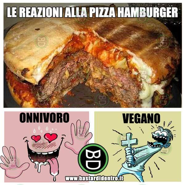 Le reazioni alla pizza hamburger  immagini e vignette divertenti