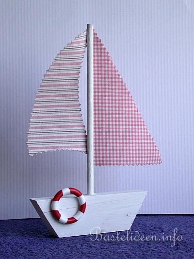 Basteln mit Holz  Laubsgearbeit  Segelboot  Sommerbasteln