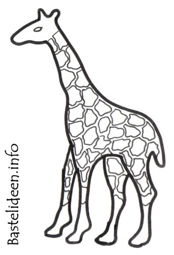 Kostenlose Malvorlage oder Bastelvorlage - Giraffe