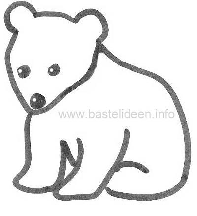 Kostenlose Malvorlage - Bastelvorlage - Bär - Eisbär
