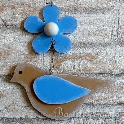 Frhlingsbasteln  Laubsgearbeit  Vogel und Blume Dekokette