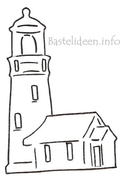 Bastelideen - Sommerbasteln - Leuchtturm Vorlage