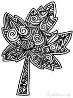 Herbstblatt Malvorlage/ Ausmalbild für Erwachsene