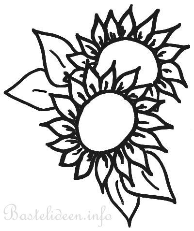 Kostenlose Bastelvorlage - Sonnenblumen