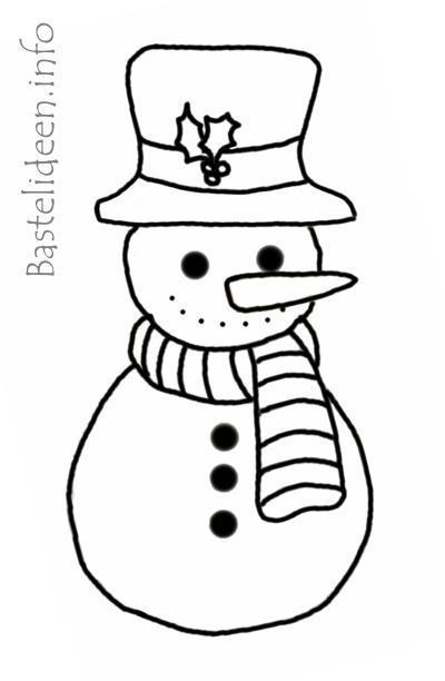 Basteln mit Kindern im Winter - Schneemann Malvorlage