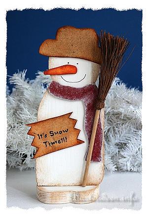 Basteln fr Weihnachten  Holz Schneemann Its Snow Time