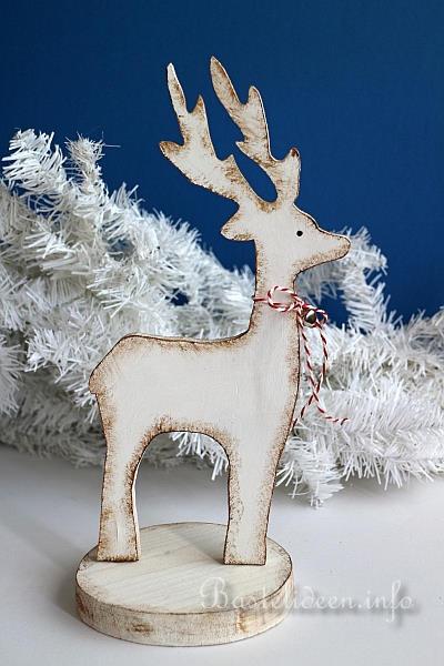 Bastelidee fr Weihnachten  Winterliche Holzdekoration