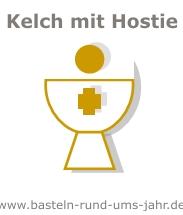 Motive für Kommunion Einladungen Kelch mit Hostie und