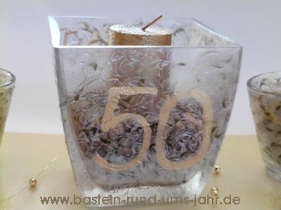 Geschenk zur Goldenen Hochzeit  Schmuckschale und Vase mit Kerze  Basteln rund ums Jahr