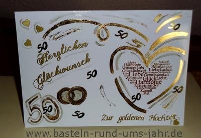 Glckwunschkarte zur Goldenen Hochzeit  Basteln rund ums Jahr