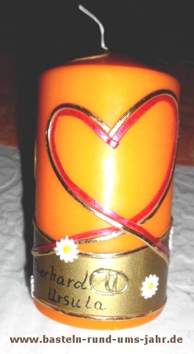 Kerze zur Goldenen Hochzeit mit Kindern basteln  Basteln