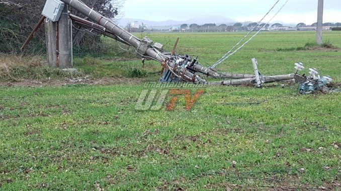 Palo Enel si schianta a causa di una pianta tra Bastia e Petrignano