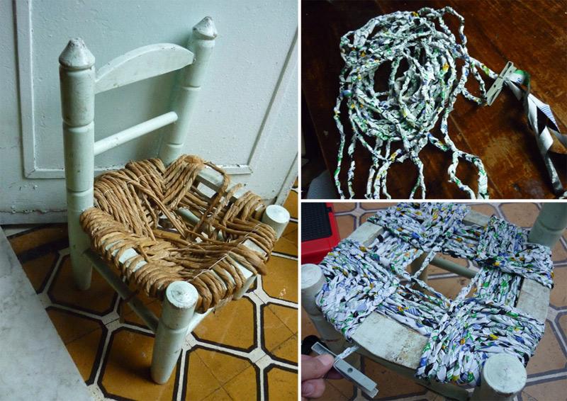 Basurillas  Blog Archive Silla renovada con bolsas de
