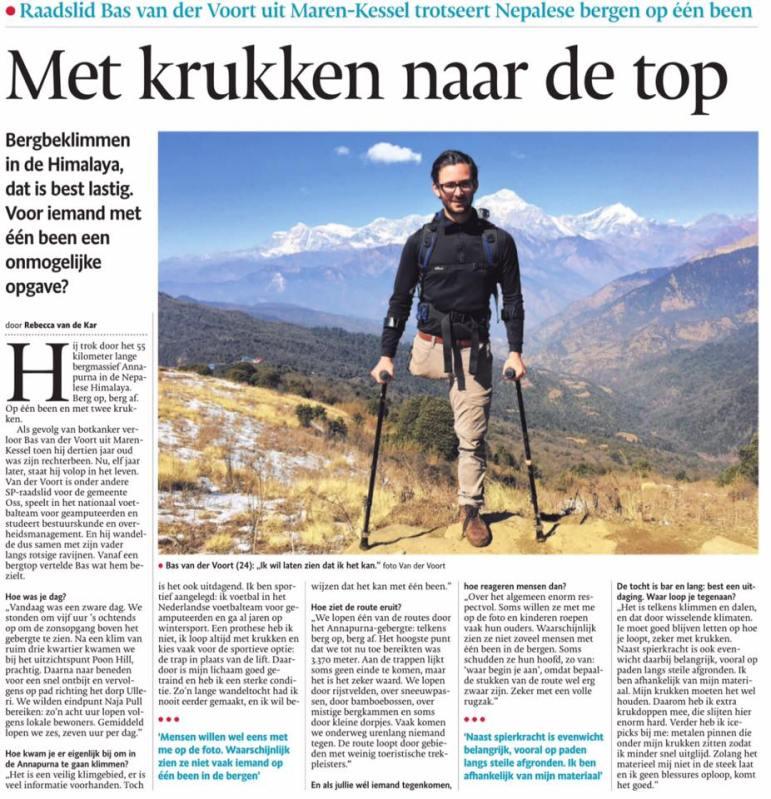 Bas van der Voort met een been naar Nepal