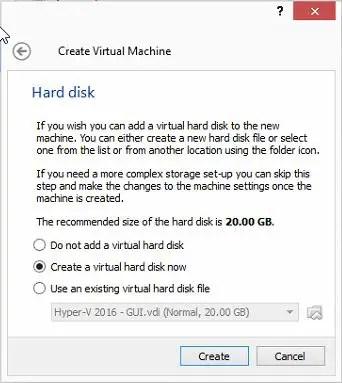 create virtual machine hard disk