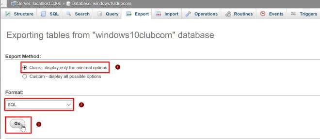 Export database mySQL - Export database phpMyAdmin