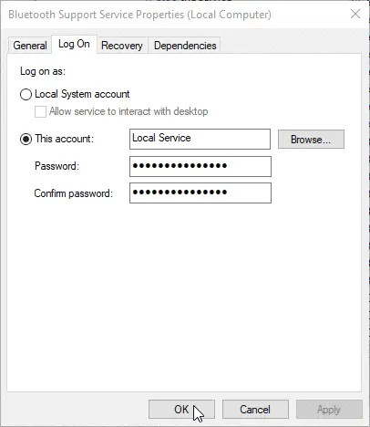 Bluetooth could not connect, try again later