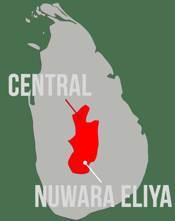 Map of Nuwara Eliya within Sri Lanka - Lover's Leap Sustainable Tea