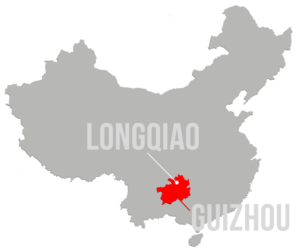 Map of China with Guizhou Province and Longqiao Village marked