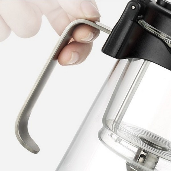 Samadoyo Glass and Stainless Steel Gong Fu Teapot - Steel handle close up